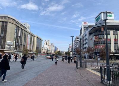 2)北口を出たら、正面の「大手前通り」を直進し、駅前の白銀交差点を渡ります。 その後道なりに直進します。途中、右手のアーケード街「駅前フラワーロード」などを通り過ぎ、まっすぐ進みます。