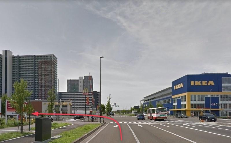 更に100mほど直進し、右手にIKEAのある「あすと長町1丁目南」交差点を右折します。