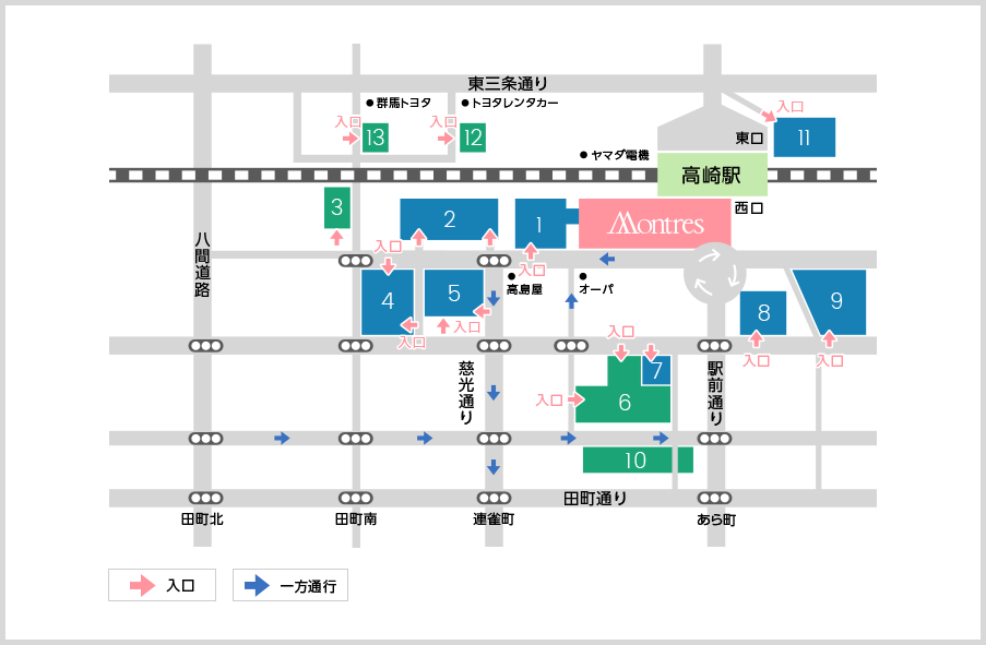 高崎モントレー店の駐車場