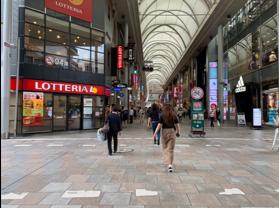 3.そのまましばらく直進し、ロッテリア広島本通り店の手前の信号もそのまま直進します。