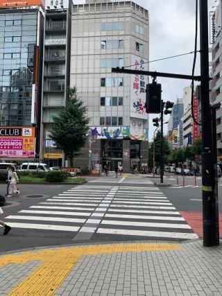 新宿区役所前の交差点を渡ります。