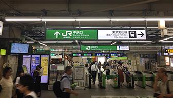 柏駅 中央口改札から出ていただきます