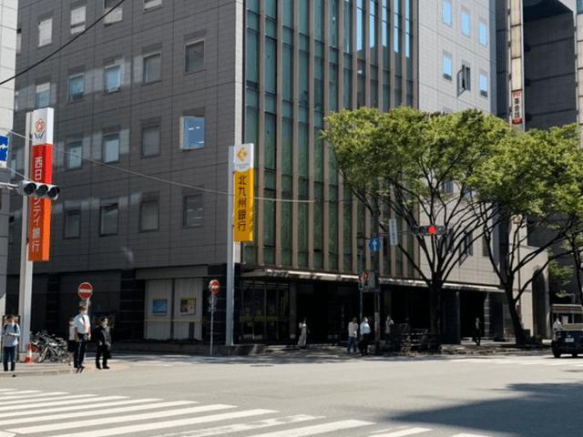 ヨドバシカメラマルチメディア博多店の手前にある交差点を北九州銀行側へ渡ります。