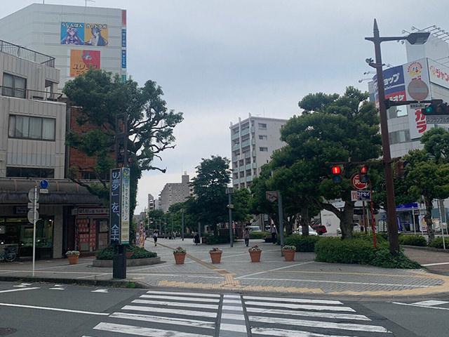 遠州鉄道「新浜松駅」改札を出て、西出口側に出ます。正面の信号を渡り1つ目のビルが「ピンストライプビル」です。その4階がキレイモです。