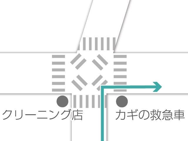 最初の信号を渡らず右に曲がります。