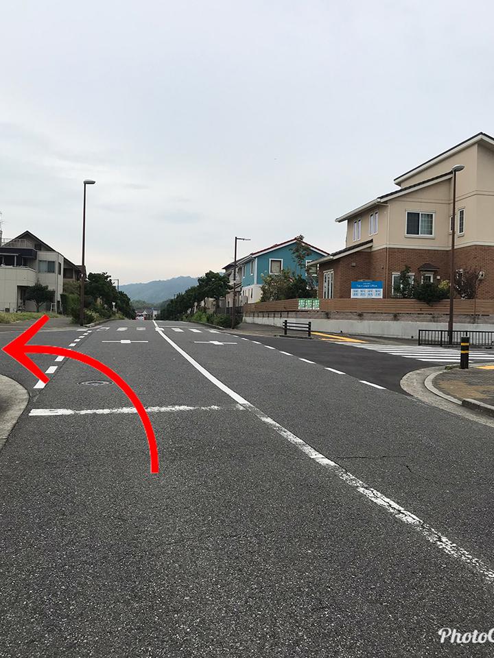 坂を上りきった交差点を左折して下さい。