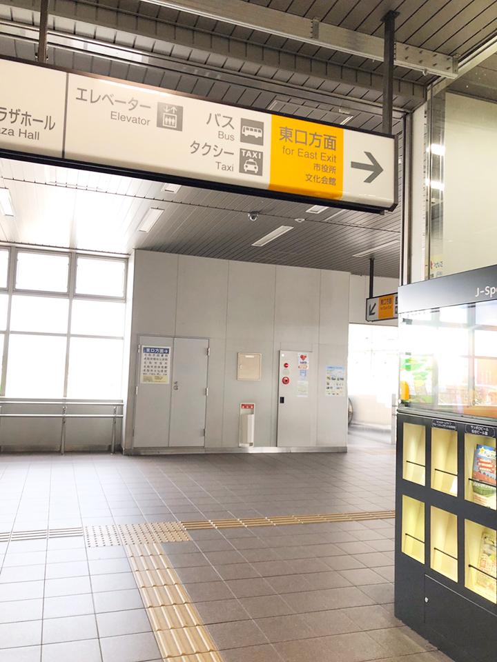 名取駅東口を出ます