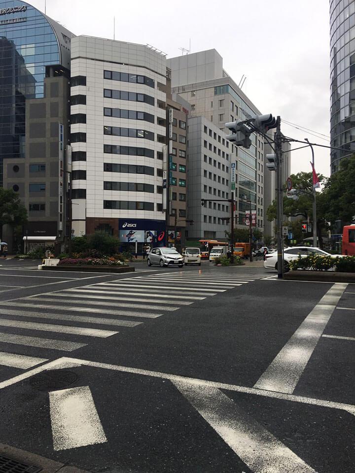 国際会館前の信号を渡ります。