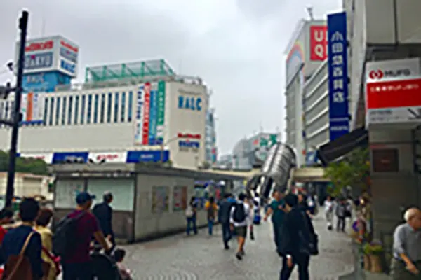小田急のビルから地上に出て、ユニクロの方向へ右手にお進みください。